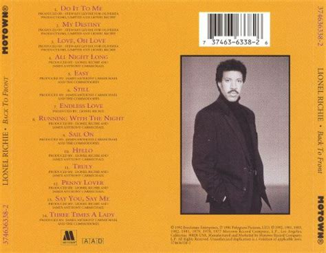 Back to Front - Lionel Richie | Songs, Reviews, Credits