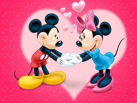 Mickey And Minnie Mouse Love Couple Cartoon Red Wallpaper